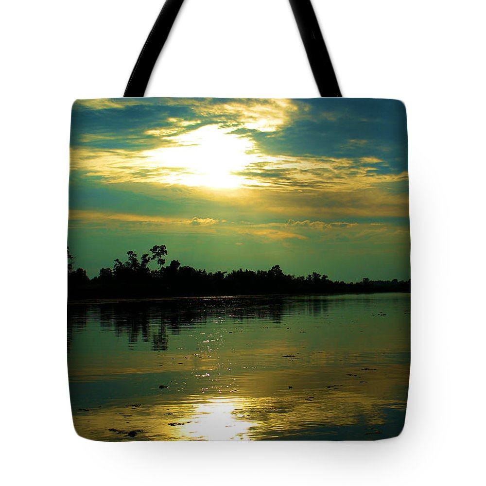 Night On The Water Tote Bag featuring the photograph Night On The Water by Karry Degruise