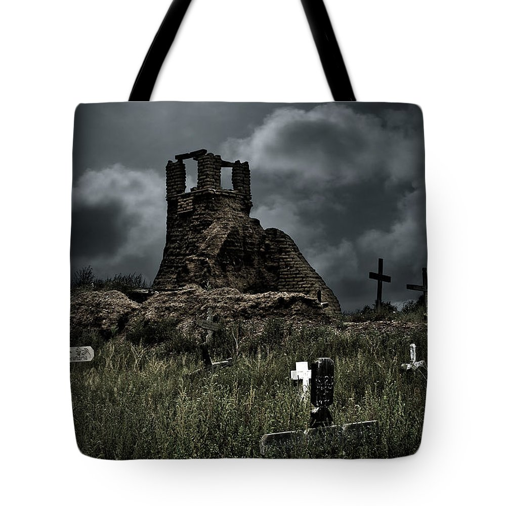 Cemetery Tote Bag featuring the photograph Night Over Taos Pueblo New Mexico by Christine Till