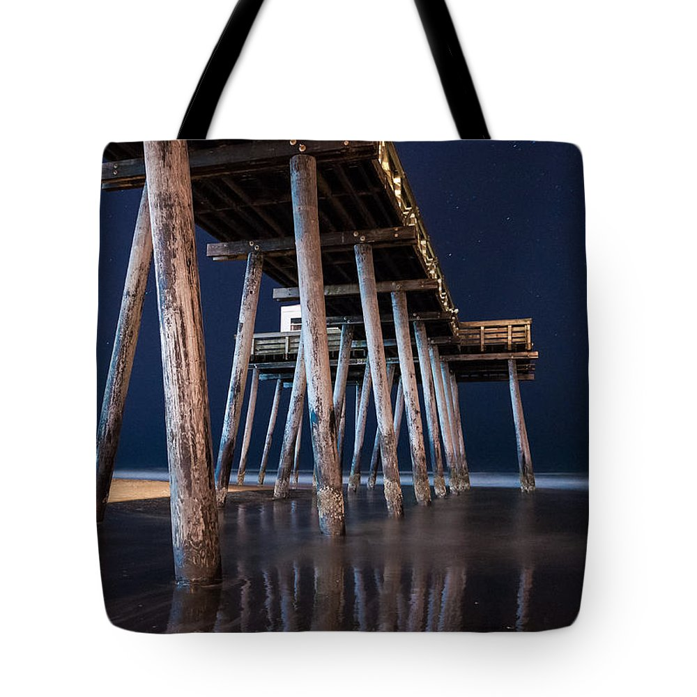 New Jersey Tote Bag featuring the photograph Night Pier by Kristopher Schoenleber