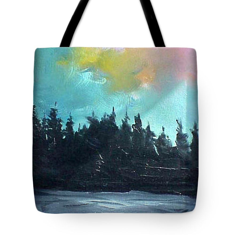 Landscape Tote Bag featuring the painting Night River by Sergey Bezhinets