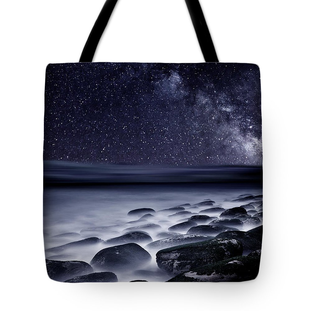 Rocks Tote Bag featuring the photograph Night Shadows by Jorge Maia