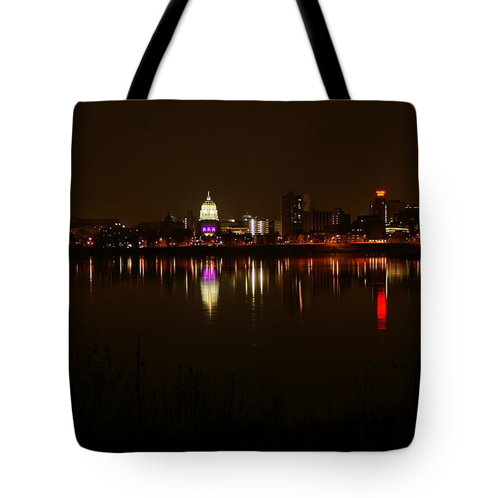 Harrisburg Tote Bag featuring the photograph Night Skyline Harrisburg Pa Pink Lights by Rob Luzier
