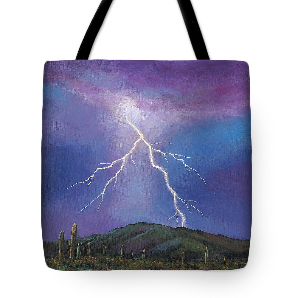 Lightning Tote Bag featuring the painting Night Strike by Johnathan Harris