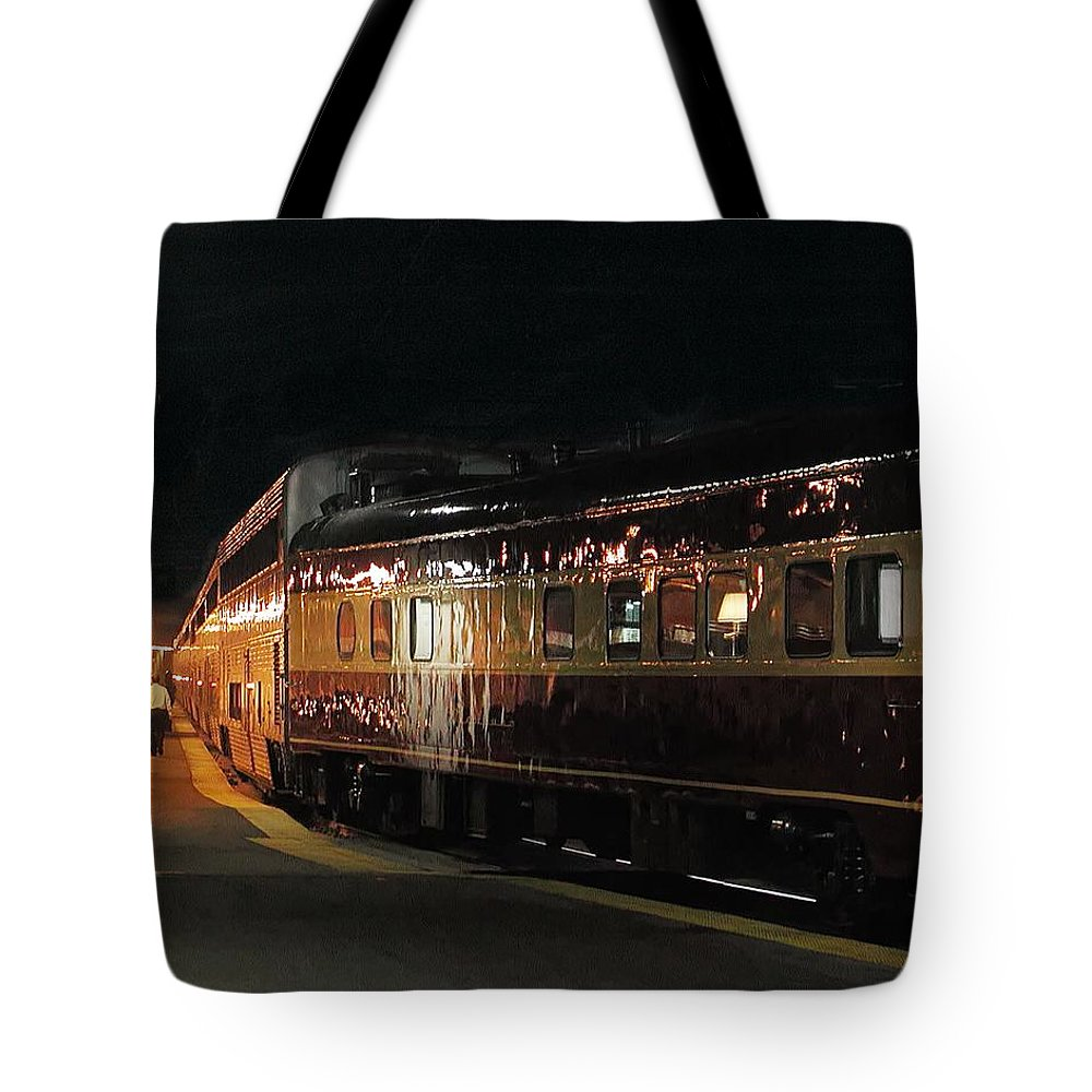 Station Tote Bag featuring the photograph Night Train by Steve Ondrus