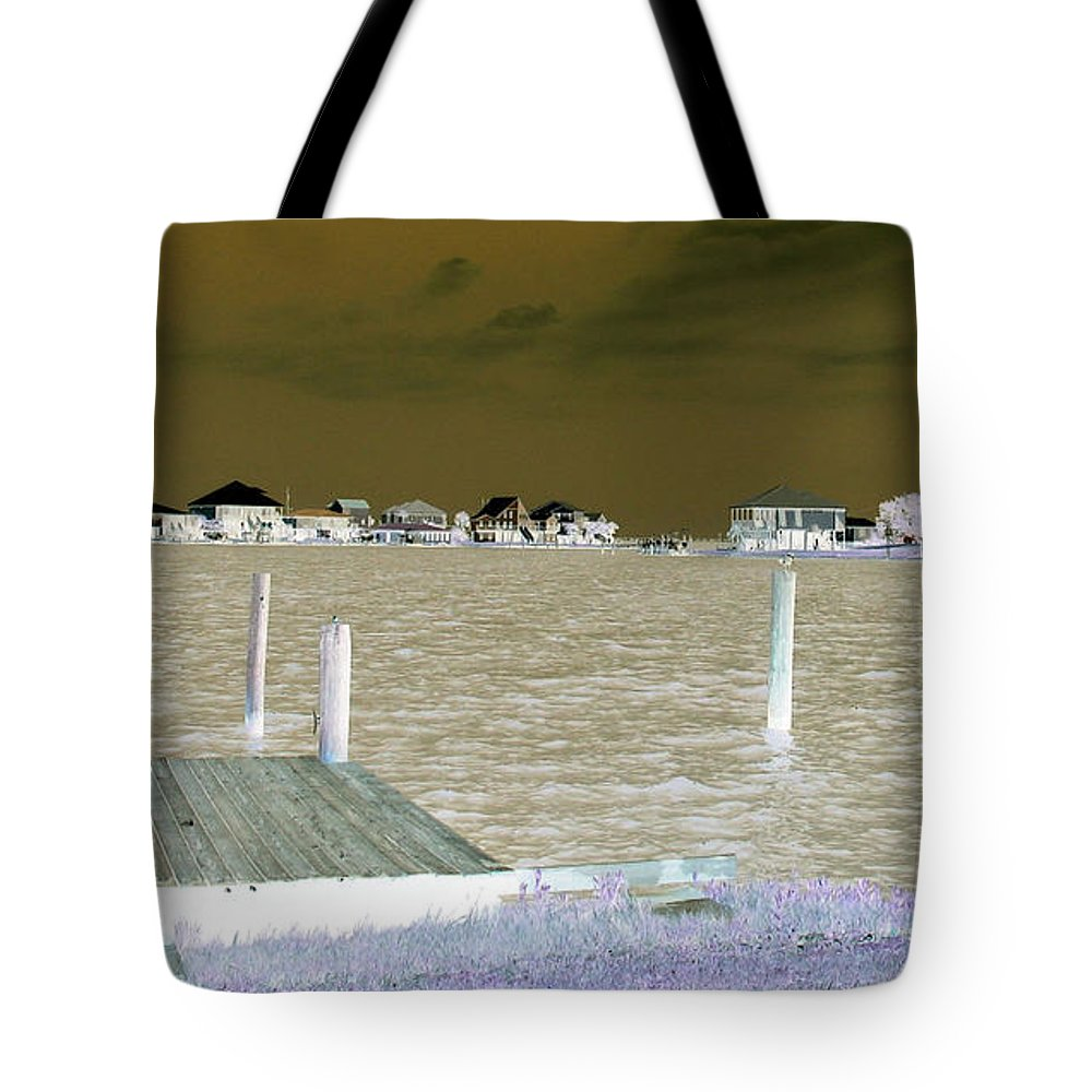 Lafitte Bay Tote Bag featuring the photograph Night View Of Lafitte Bay Dauphin Island Alabama by Marian Bell