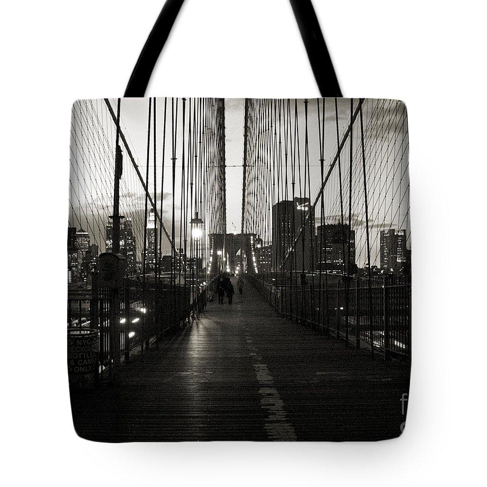 Nightfall Tote Bag featuring the photograph Nightfall On The Brooklyn Bridge by RicardMN Photography