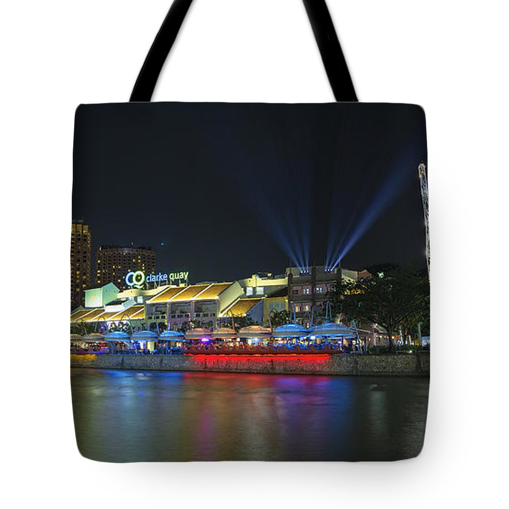 Clarke Tote Bag featuring the photograph Nightlife At Clarke Quay Singapore by Jit Lim