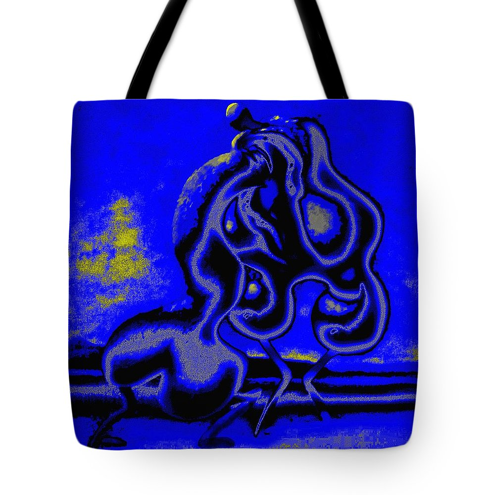 Genio Tote Bag featuring the mixed media Nightly Longing by Genio GgXpress