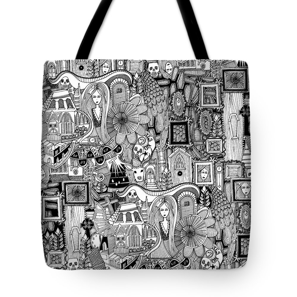 Ghost Tote Bag featuring the drawing Nightmares by MGL Meiklejohn Graphics Licensing