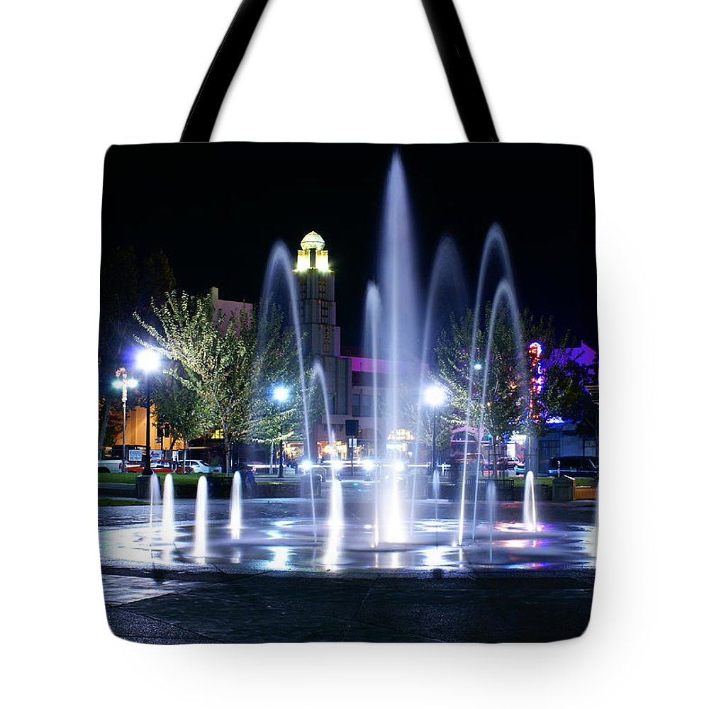 Chico City Plaza Tote Bag featuring the photograph Nighttime At Chico City Plaza by Abram House