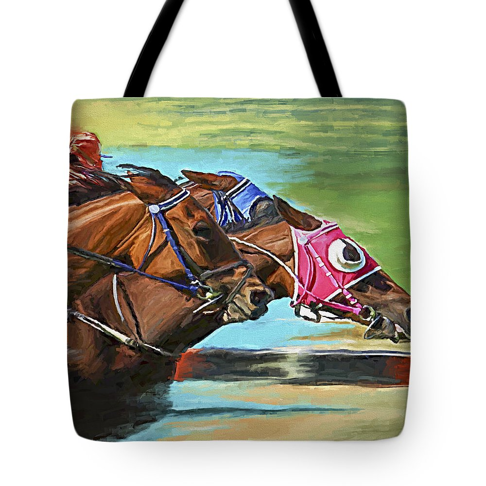 Horses Tote Bag featuring the painting Nikita By A Head by David Wagner