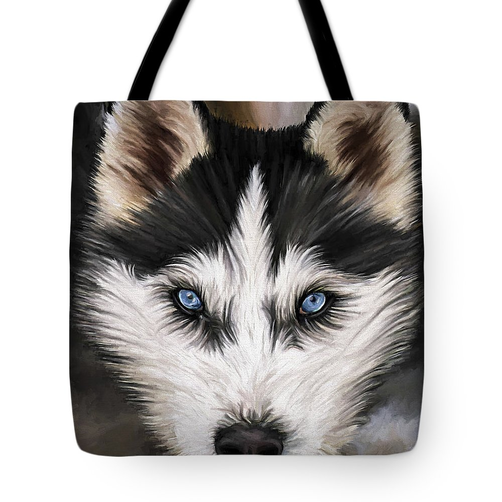 Dog Art Tote Bag featuring the painting Nikki by David Wagner
