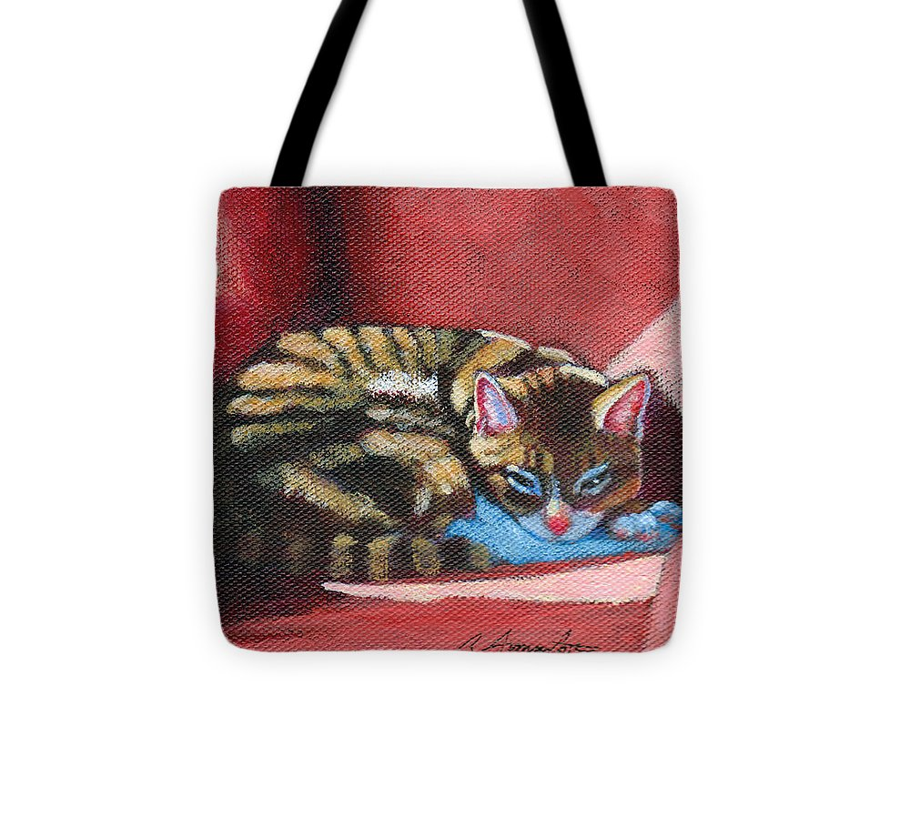 Cat Tote Bag featuring the painting Nikos On Red Chair by Rachel Armington