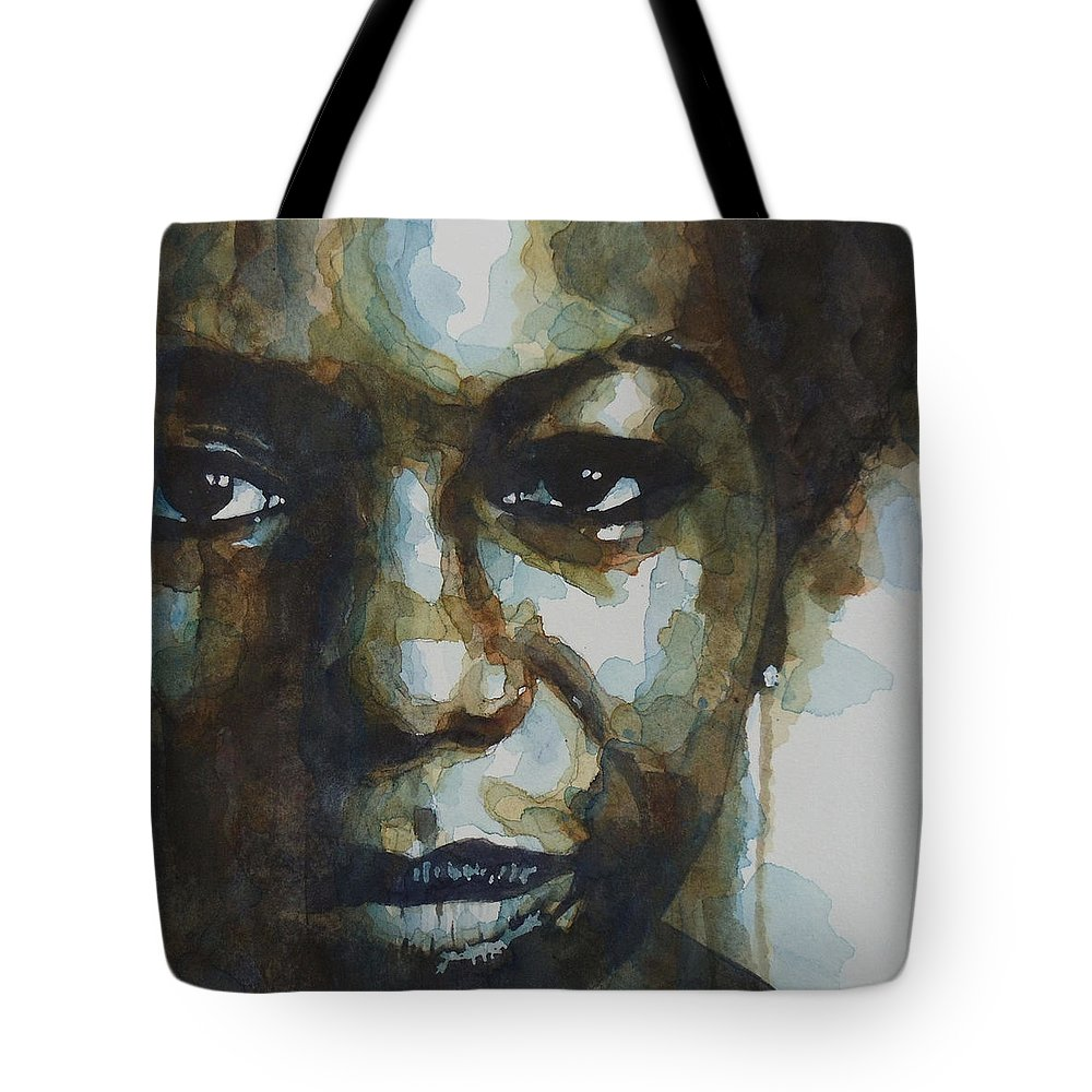 Nina Simone Tote Bag featuring the painting Nina Simone Ain't Got No by Paul Lovering
