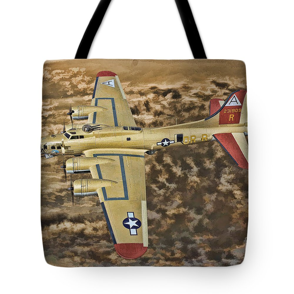 Boeing B-17 Flying Fortress Tote Bag featuring the digital art Nine O Nine by Tommy Anderson