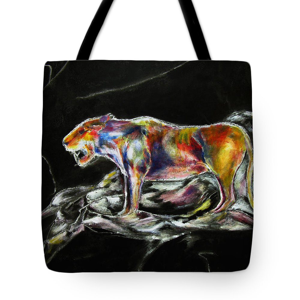 Animals Tote Bag featuring the painting No Fear by Tom Conway
