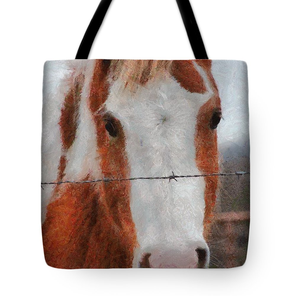Barbed Wire Tote Bag featuring the painting No Fences by Jeffrey Kolker