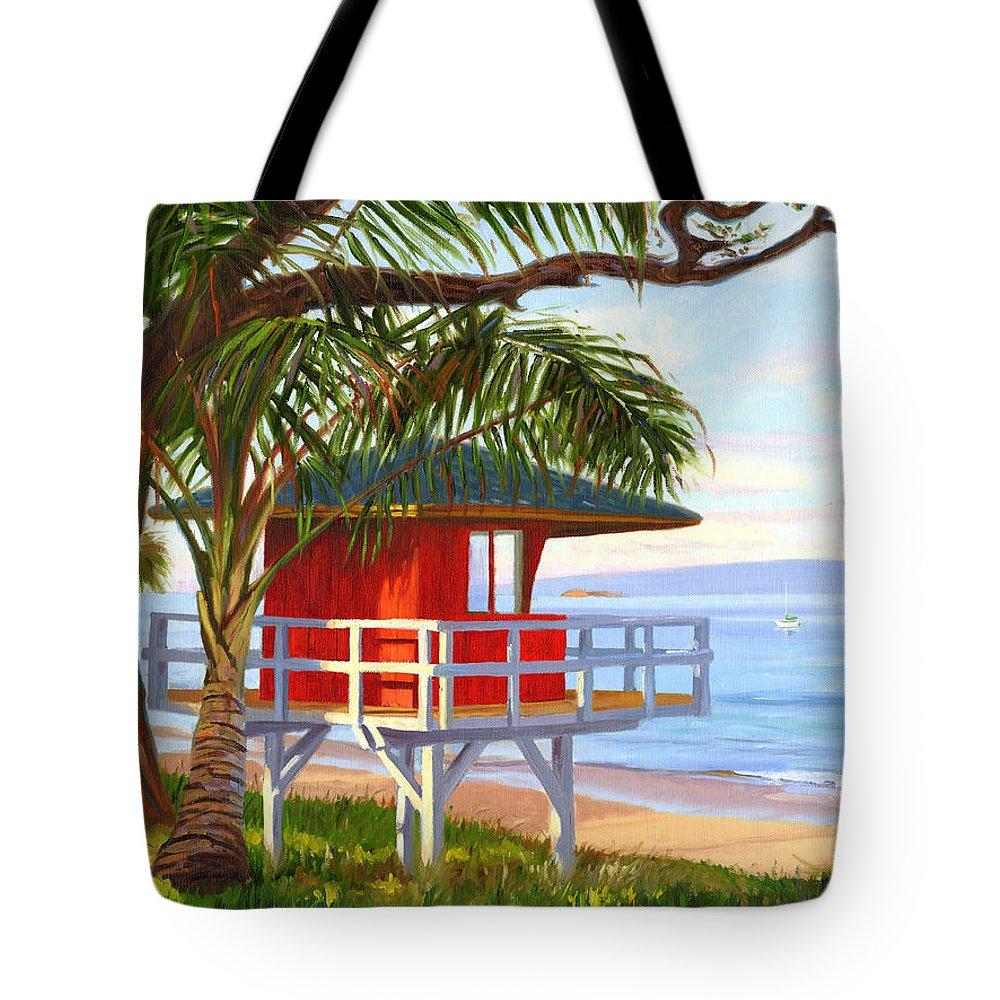 Maui Tote Bag featuring the painting No Guard On Duty - Kamaole Beach by Steve Simon