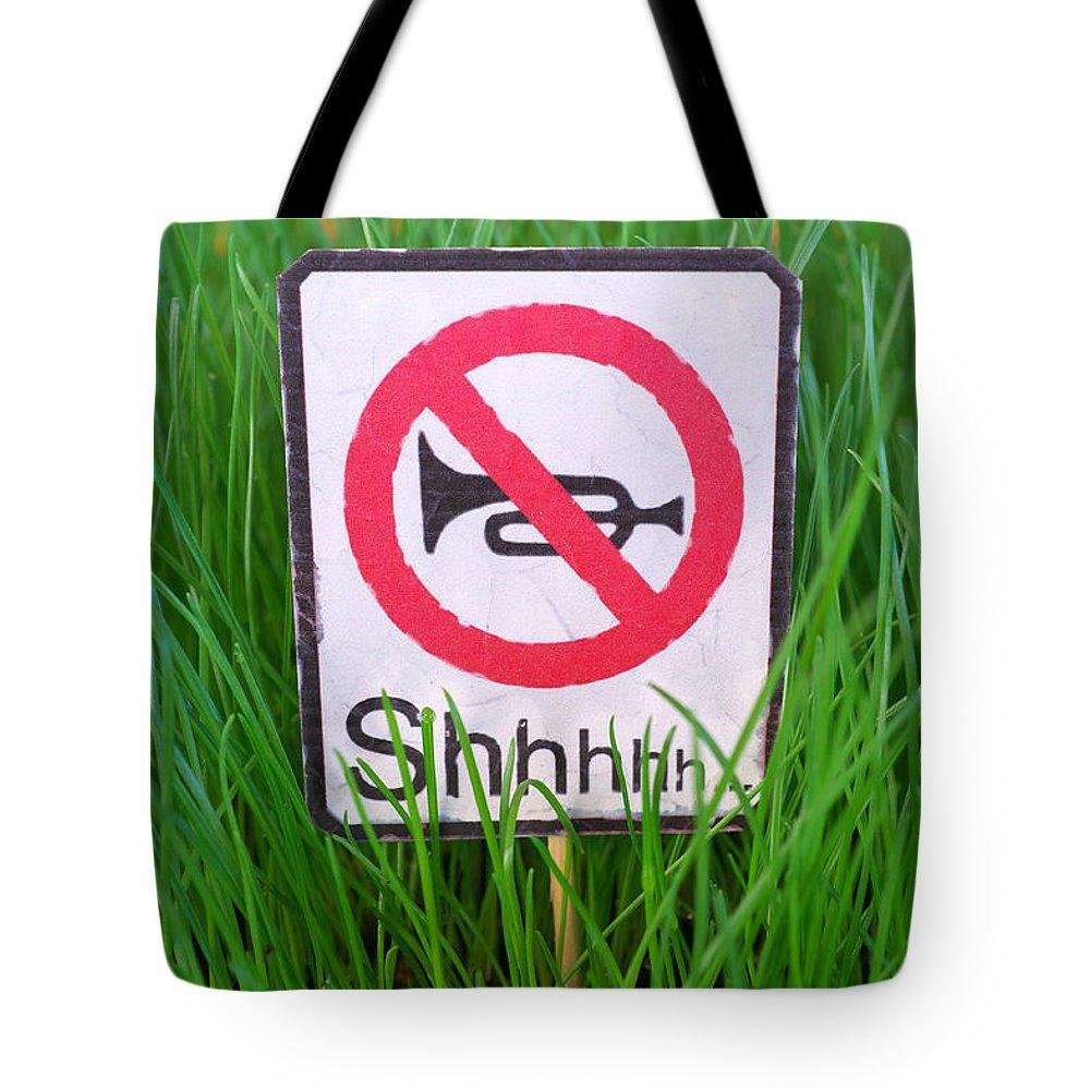 Sign Tote Bag featuring the photograph No Horn Shhh... by Grigorios Moraitis
