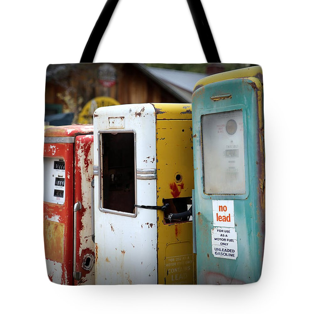 Gas Pumps Tote Bag featuring the photograph No Lead by Lynn Sprowl