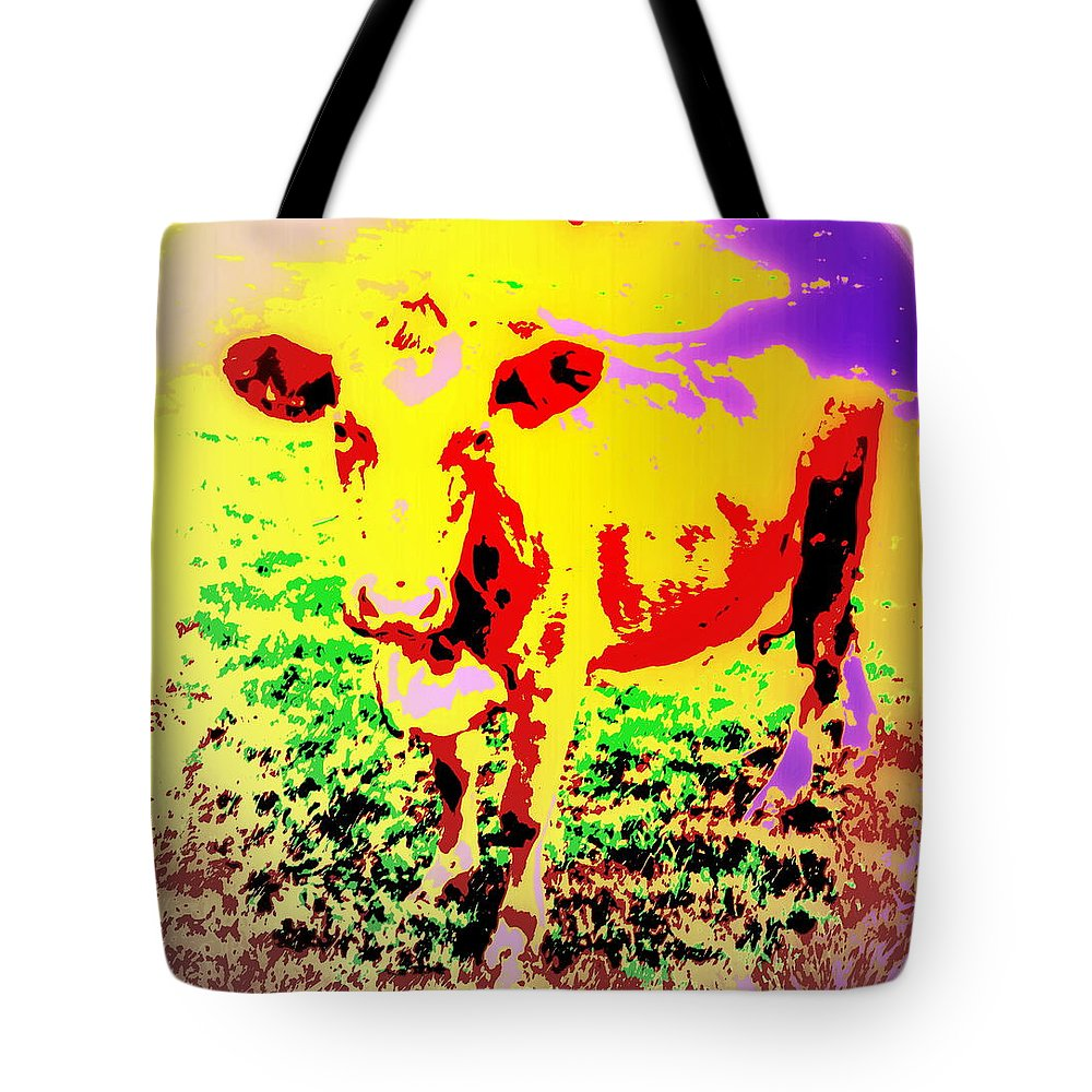 Cow Tote Bag featuring the photograph No Mercy For The Cow, They Say, But Why Not by Hilde Widerberg