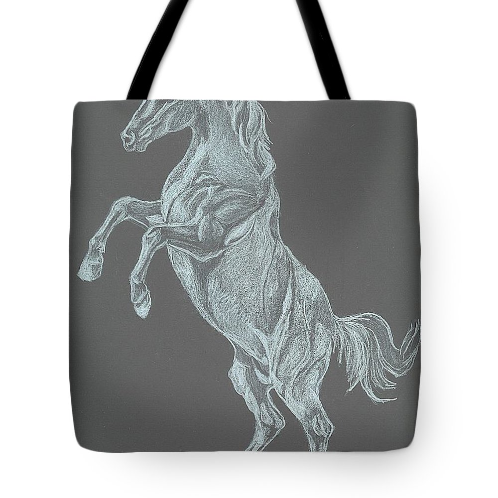 White Horse Tote Bag featuring the drawing No Name by Carol Wisniewski