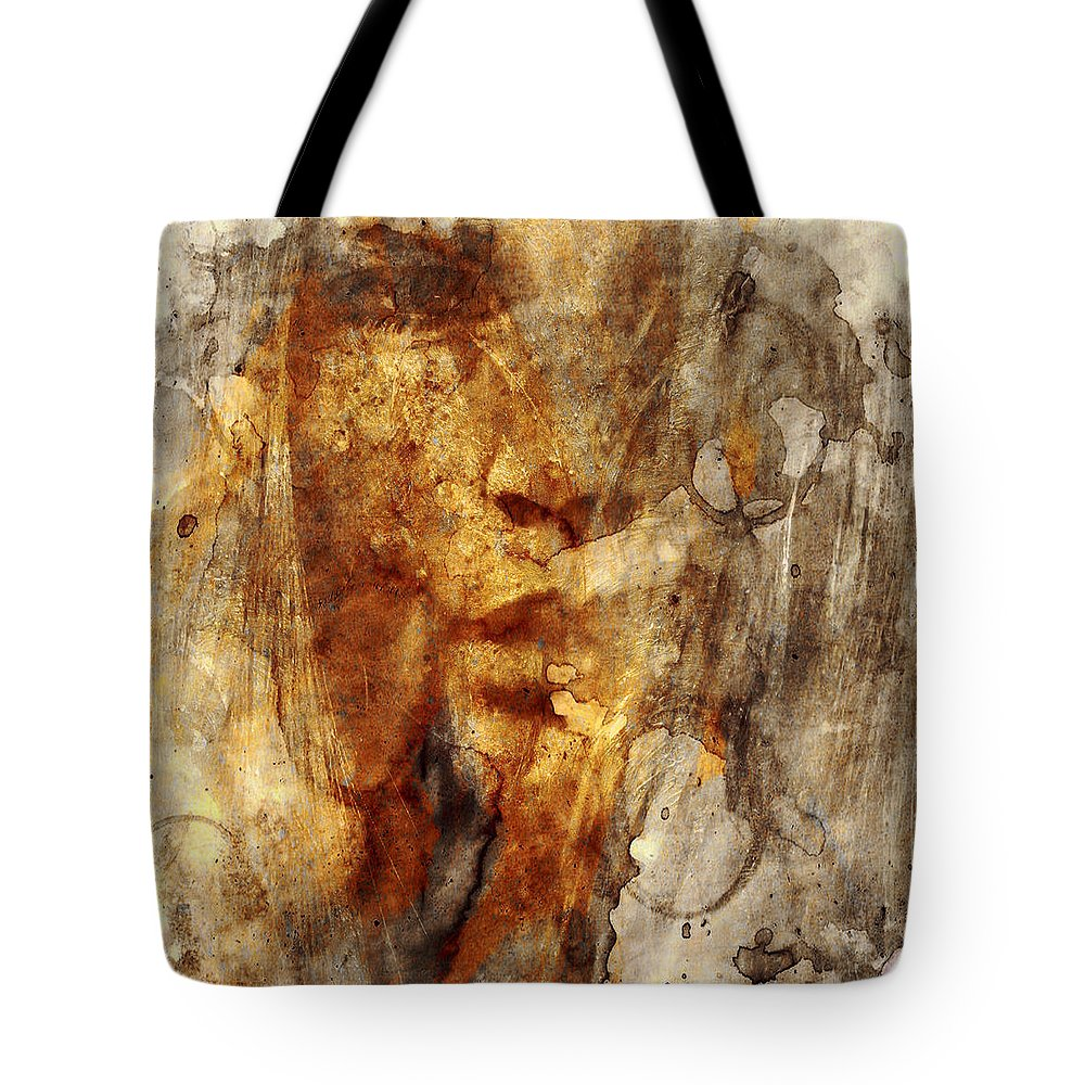 Girl Tote Bag featuring the digital art No Name Face by Marian Voicu