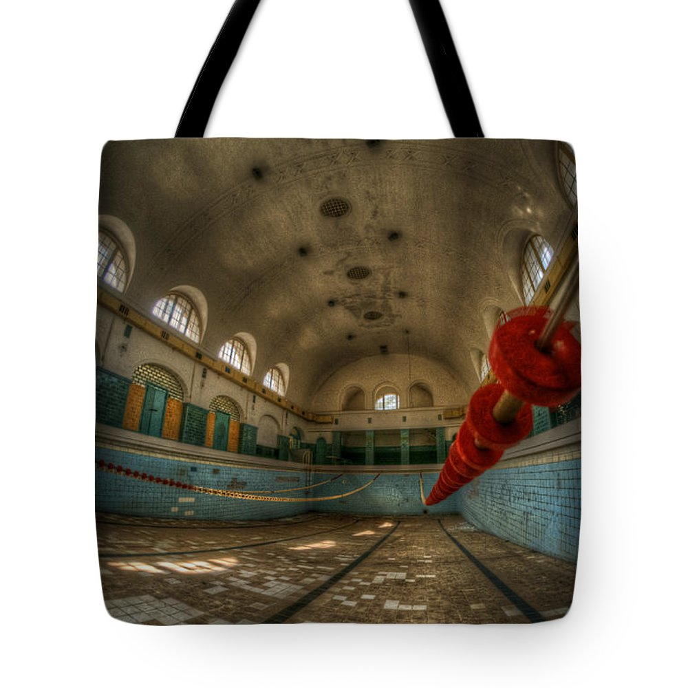 Abandoned Tote Bag featuring the digital art No Swimming by Nathan Wright