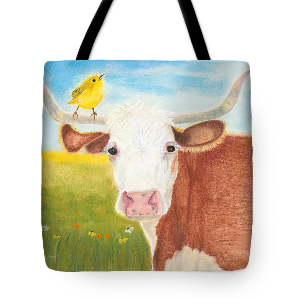 Cow Tote Bag featuring the painting No Tree Necessary by Arlene Crafton