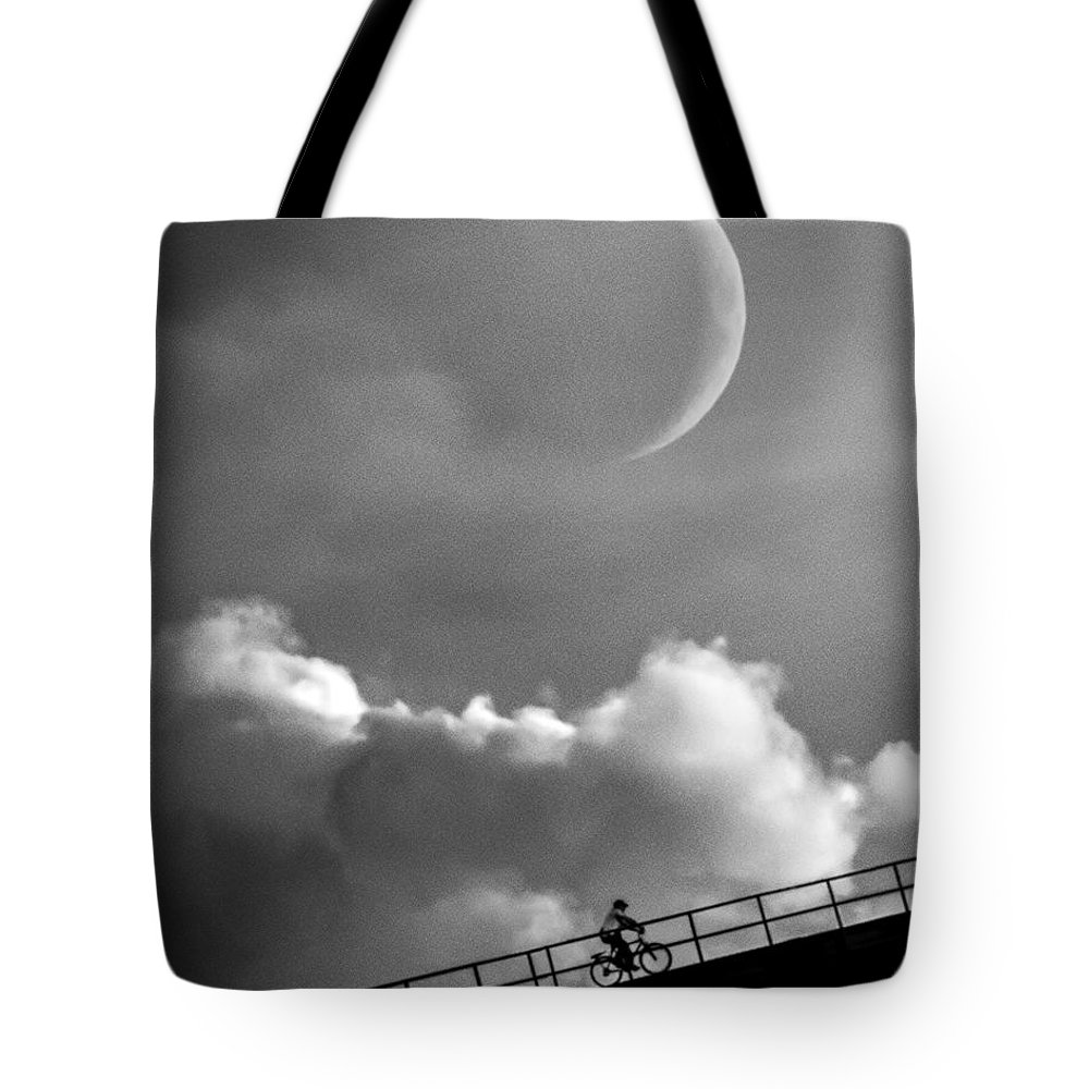Crescent Moon Tote Bag featuring the photograph No Turning Back by Bob Orsillo