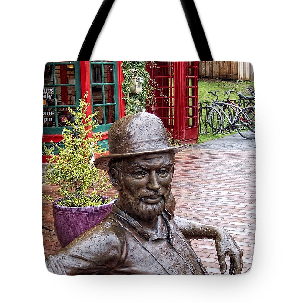 Statue Tote Bag featuring the photograph No Umbrella by Donna Blackhall