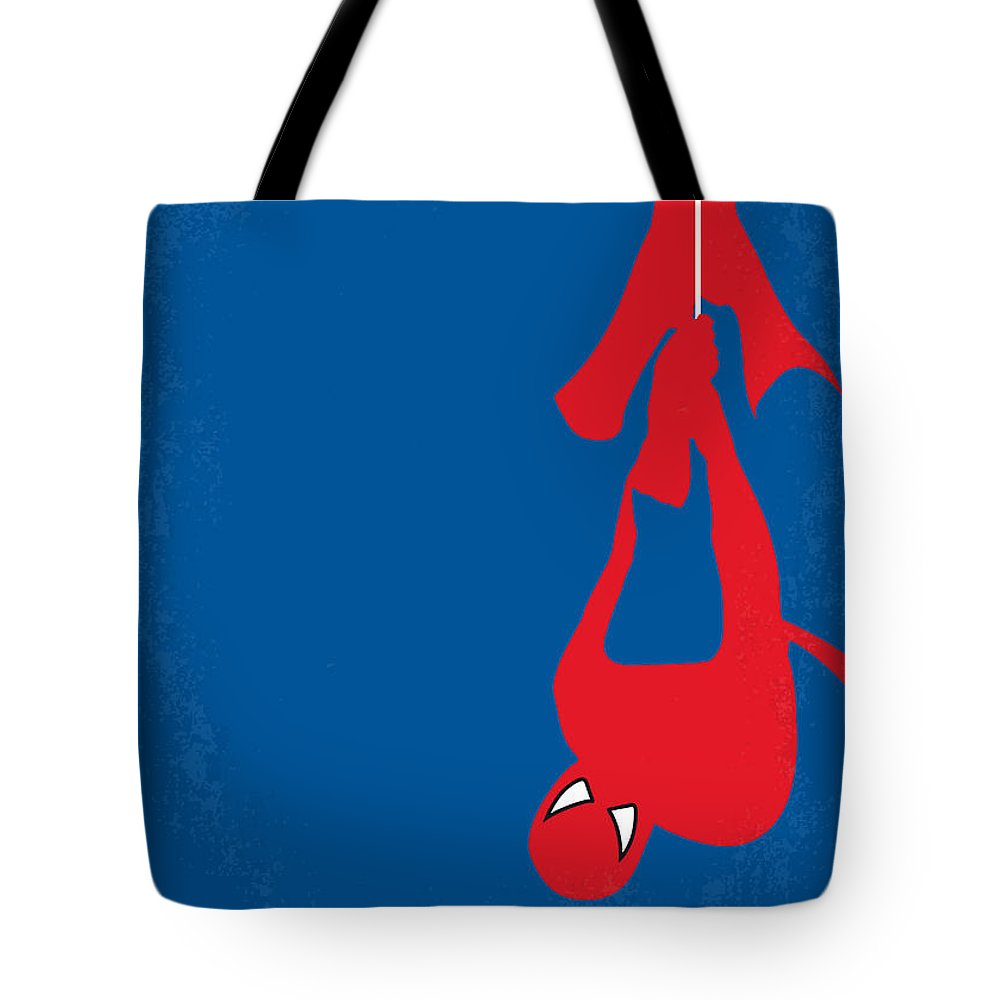 Spider-man Tote Bag featuring the digital art No201 My Spiderman Minimal Movie Poster by Chungkong Art