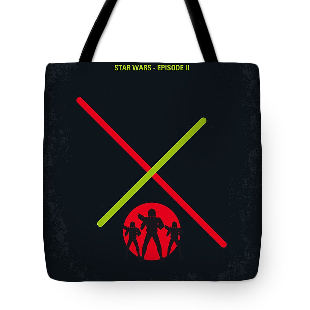 Star Tote Bag featuring the digital art No224 My Star Wars Episode II Attack Of The Clones Minimal Movie Poster by Chungkong Art