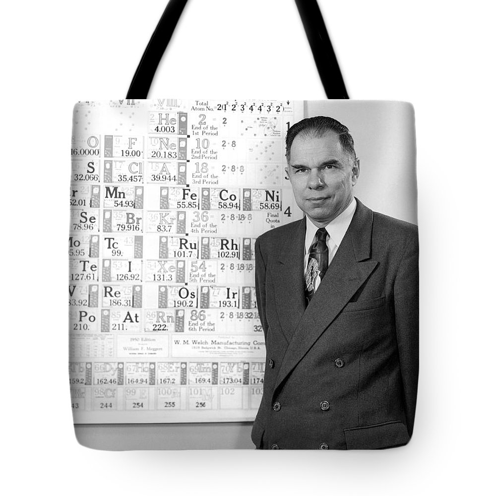 1 Person Tote Bag featuring the photograph Nobel Winner Glenn Seaborg by Underwood Archives