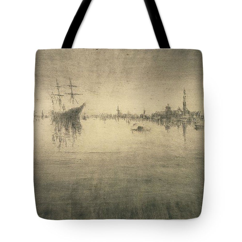 Boat Silhouette Drawings Tote Bags