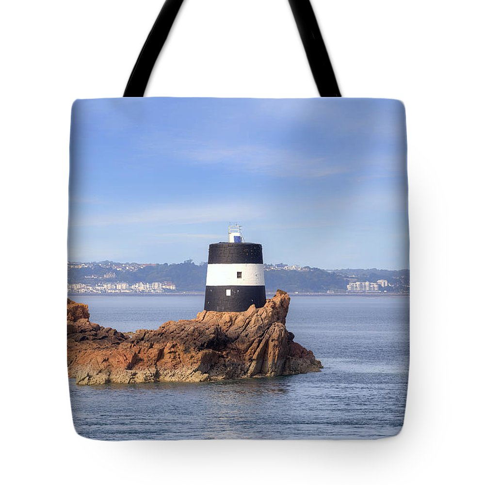 Noirmont Point Tower Tote Bag featuring the photograph Noirmont Point Tower - Jersey by Joana Kruse