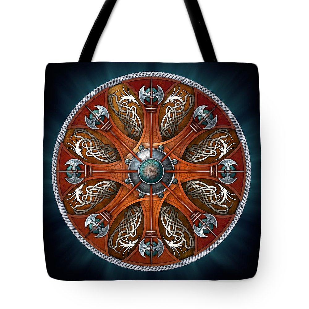 Norse Tote Bag featuring the photograph Norse Aegishjalmur Shield by Ricky Barnes