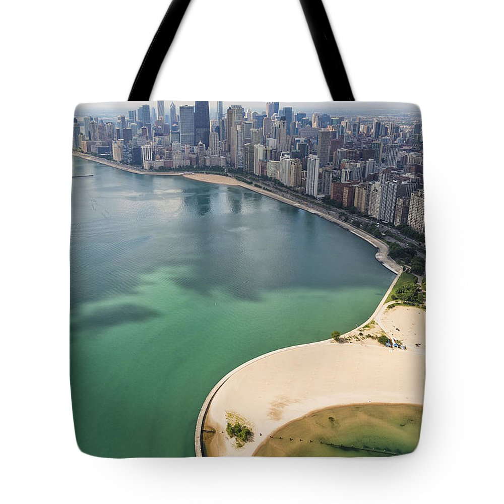 3scape Tote Bag featuring the photograph North Avenue Beach Chicago Aerial by Adam Romanowicz