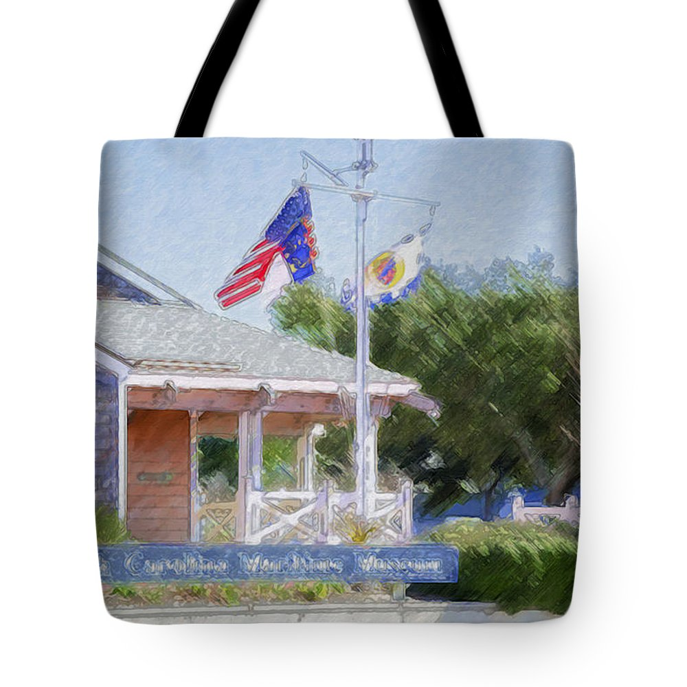 North Tote Bag featuring the painting North Carolina Maritime Museums by Jeelan Clark