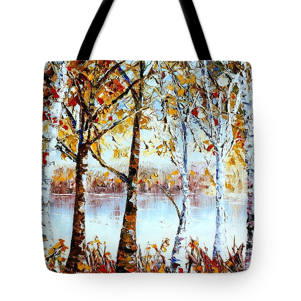 North Country Landscape Tote Bag featuring the painting North Country Lake Superior Birch Trees Early Autumn by Carole Spandau