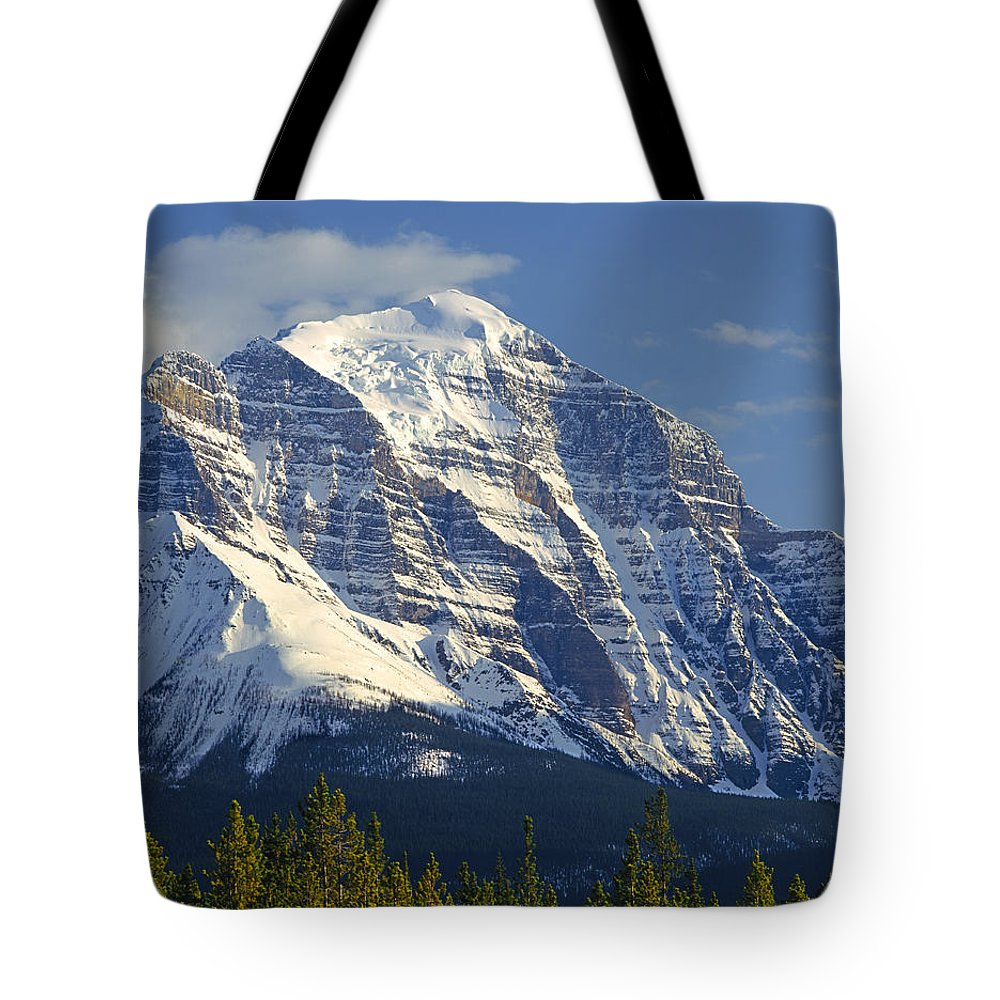 North Face Tote Bag featuring the photograph 1m3549-north Face Of Mt. Temple by Ed Cooper Photography