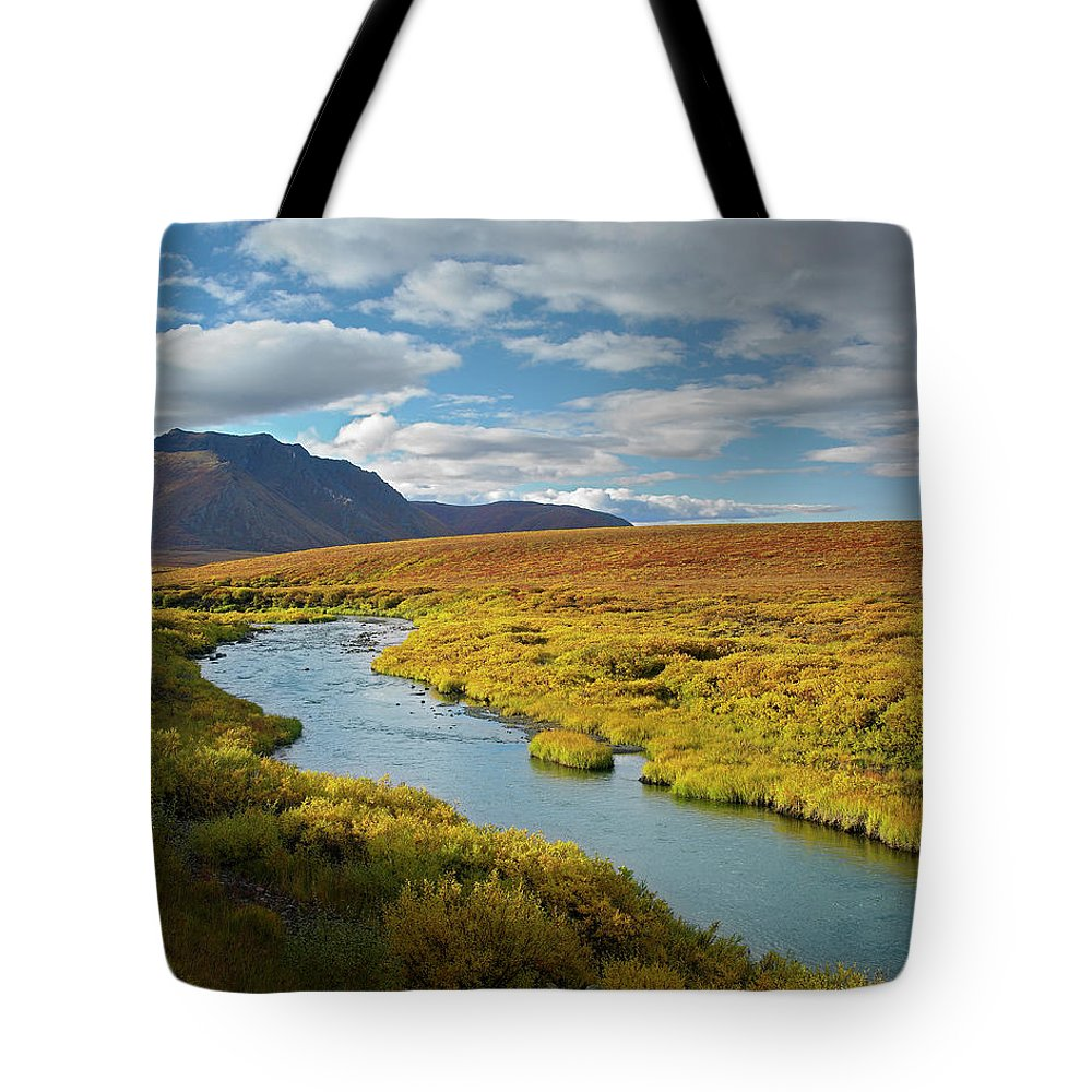 Canada Tote Bag featuring the photograph North Klondike River Flowing by Tim Fitzharris