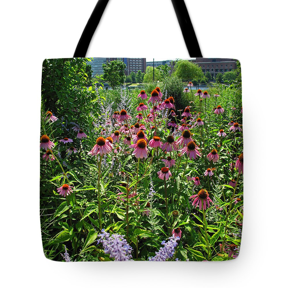 Floral Tote Bag featuring the photograph North Point Park Flowers by Barbara McDevitt