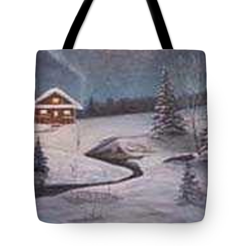 Rick Huotari Tote Bag featuring the painting North Woods Cabin by Rick Huotari