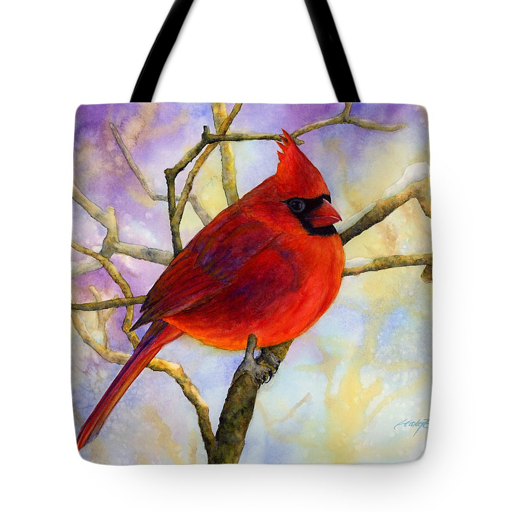 Cardinal Tote Bag featuring the painting Northern Cardinal by Hailey E Herrera