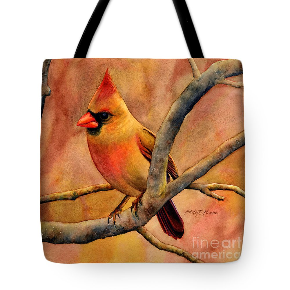 Cardinal Tote Bag featuring the painting Northern Cardinal II by Hailey E Herrera