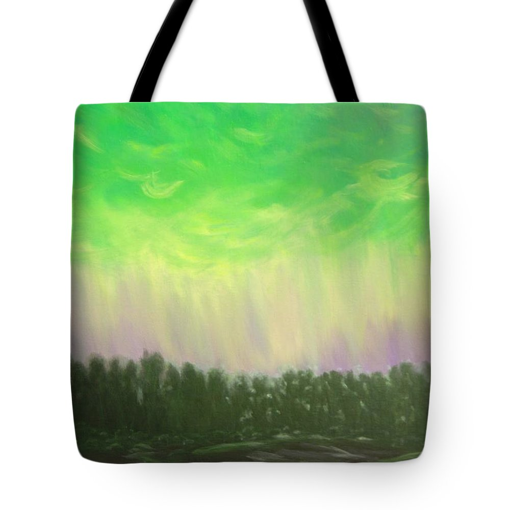 Northern Lights Tote Bag featuring the painting Northern Lights Of Aberdeen by Douglas Ann Slusher