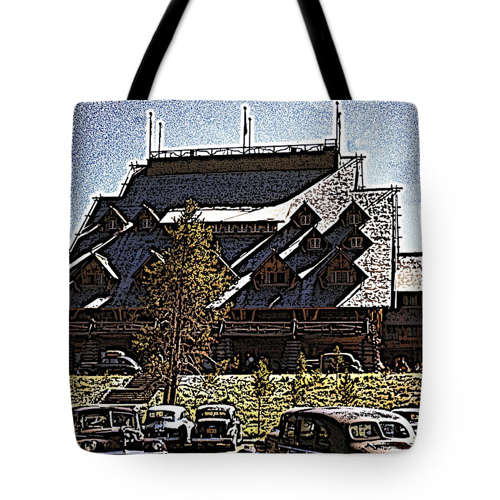Nostalgia Tote Bag featuring the photograph Nostalgia Old Faithful Inn By Cathy Anderson by Cathy Anderson
