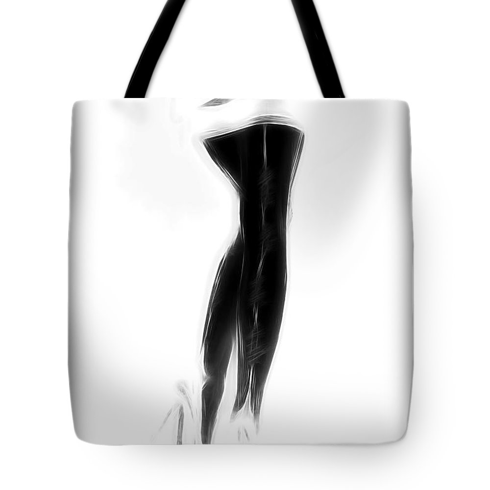 Stockings Lingerie Legs Sexy Erotic Black White Pencil Drawing Painting Woman Female Girl High Heels Sensual Devotion Negative Tote Bag featuring the painting Not Negative by Steve K