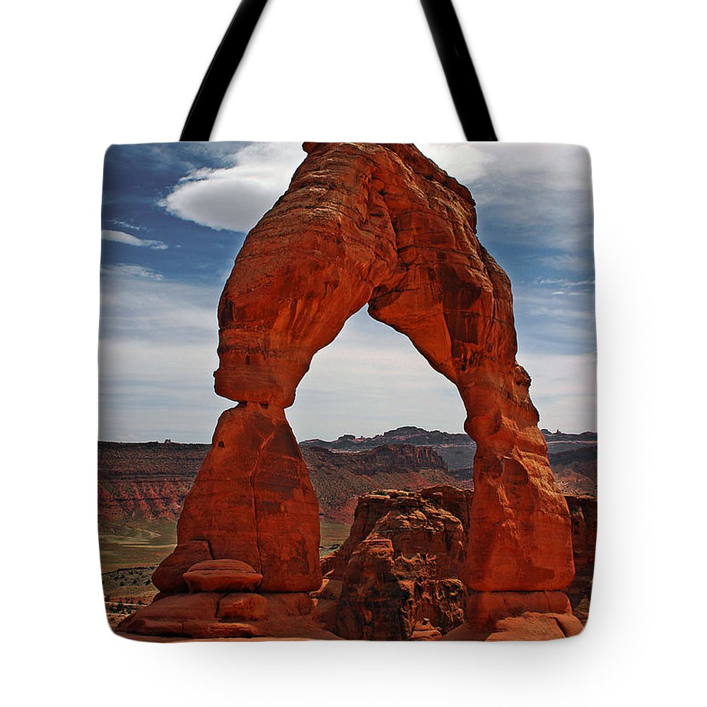 Not The Usual Delicate Arch View Tote Bag featuring the photograph Not The Usual Delicate Arch View by Wes and Dotty Weber